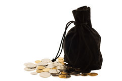 Old black bag money. Old black bag with money coins isolated on white background Stock Images