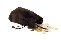 Old black bag money. Old black bag with money coins isolated on white background Stock Photo