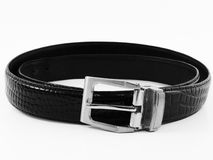 Old black belt. On white royalty free stock photography