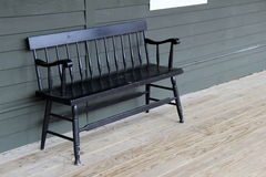 Free Old Black Bench On Wood Porch Stock Photos - 41173903