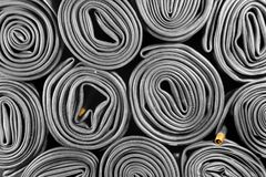 Old bicycle tire tubes stock images