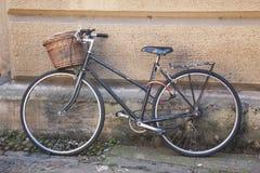 Old Black Bike in Streets of Cambridge stock photo