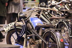 Old black and blue motorcycle Royalty Free Stock Photo