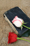 Old Black Book on the Beach Sand. Old Black Book on Beach Sand with Roses on it Stock Photography