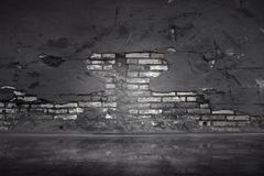 Old black brick wall. With crack background Stock Photography