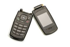 Broken mobile phone isolated on white. Old black bright broken mobile phone isolated on white background royalty free stock image