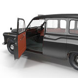 Old Black Cab on white. Front door opened. 3D illustration Stock Photo
