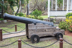 Old Black Cannon In Park Stock Photography