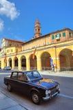 Old black car on the street in Bra, Italy. Stock Photo