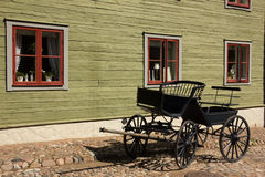 Old black carriage. Linkoping. Sweden Stock Photography