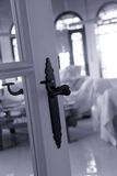 Old black doorhandle Stock Images