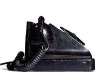 Old black ebonite telephone side view isolated Royalty Free Stock Photos