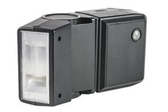 Old black external flash for the camera Stock Image