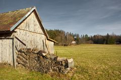 Old Black Forest Barn. Old Barn on a Black Forest meadow, lighted by the evening sun Stock Images