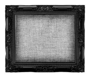 old black frame with empty grunge linen canvas for your picturet Royalty Free Stock Photos