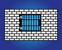 Old black iron window with grids on white brick wall. Stock Images