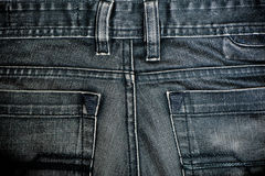 Old black jeans close-up. Pocket. Royalty Free Stock Images