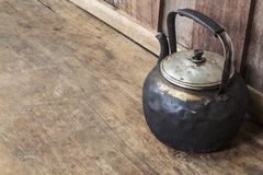 Old black kettle Stock Photography