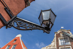 Old black lantern in the center of Leer. Germany royalty free stock image