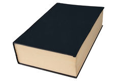 Old black large hardback book isolated on white. Stock Photos