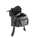 Old black leather bag. Stock Photo