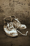 Old black leather shoes. Royalty Free Stock Photography