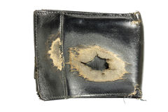 Old black leather wallet isolated. Royalty Free Stock Photos
