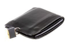 An old Black leather wallet with a pad lock Stock Image