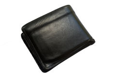 Old black leather wallet. Royalty Free Stock Image