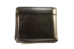 Old black leather wallet. Stock Photography