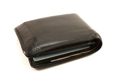 Old black leather wallet. Stock Images