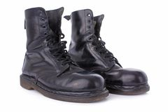 Old black leather work boots Royalty Free Stock Photography