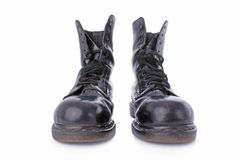 Old black leather work boots Stock Photos
