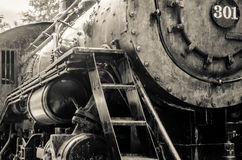 Old black locomotive engine Stock Photos