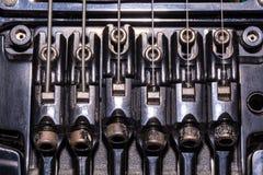Old black metal detail from electric guitar Floyd Rose