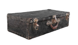 Old black metal suitcase isolated Stock Image