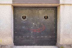 Old black metallic door Royalty Free Stock Images