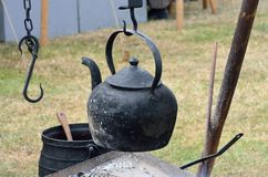 Old black outdoor Kettle Royalty Free Stock Images