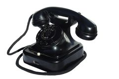 Old black phone. On white background Royalty Free Stock Images