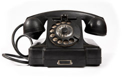 Old black phone with dust and scratches Stock Images