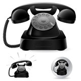Old black phone icons Royalty Free Stock Photo