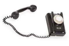 Old black phone isolated over white Stock Photo