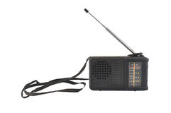 Old black plastic radio with antenna. And strap Royalty Free Stock Photos