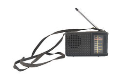 Old black plastic radio with antenna. And strap Stock Photography