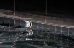 The old black pool has a depth of 180 centimeters. The old black pool has a depth of 180 centimeters in thailand stock photo