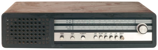 Old Black Radio Tuner Cutout Stock Image