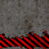 Old Black and Red Hazard Stripes Sign Wall  Stock Photo