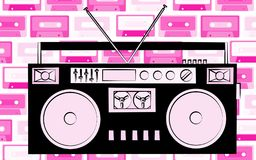 Old black retro vintage antique hipster obsolete cassette music audio tape recorder on the background of pink music audio cassette. S. Vector illustration Stock Photography