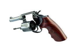 old Black revolver handgun with bullets   Royalty Free Stock Photography