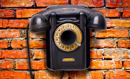 Old black rotational phone Stock Image